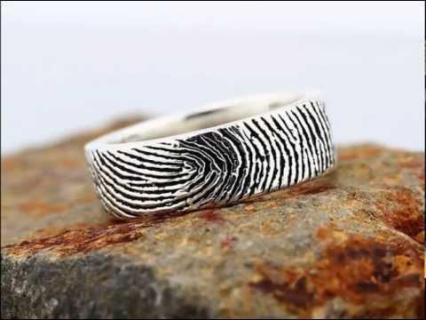 Custom Fingerprint Ring -  Engraving Wedding Band, Sterling Silver 14K yellow, white, rose gold.