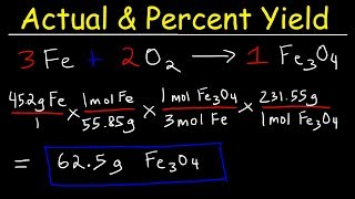This chemistry video tutorial explains how to calculate the percent yield, actual yield and theoretical yield of a product produced in a chemical reaction given the mass in grams of the reactants.  This video includes stoichiometry practice problems with limiting reagents and excess reactants.  Most examples in this video involves a gram to gram stoichiometry conversion.New Chemistry Video Playlist:https://www.youtube.com/watch?v=bka20Q9TN6M&t=25s&list=PL0o_zxa4K1BWziAvOKdqsMFSB_MyyLAqS&index=1Access to Premium Videos:https://www.patreon.com/MathScienceTutor