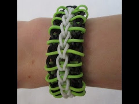 Rainbow Loom- How to make a Stripey Zebra Bracelet (Original Pattern)