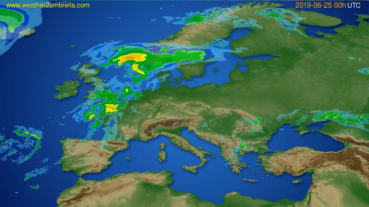 Radar forecast Europe // modelrun: 12h UTC 2019-06-24