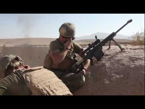 barrett - 1st Reconnaissance Battalion engage insurgents in Sangin, Afghanistan, 11/19/2010 as part of the counter insurgency ops. Marines are using a suppressed M4 wi...