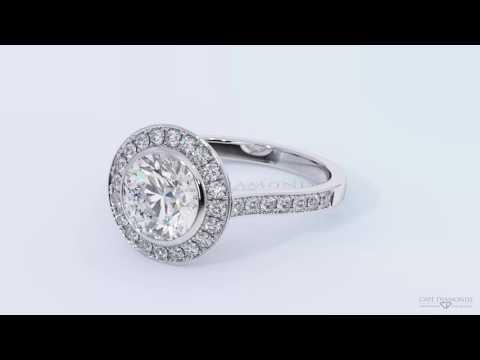 Tube Halo Channel Setting Side Stone White Gold Diamond Engagement Rings - Cape Diamonds