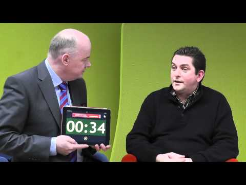 Sean Mc Dermott, Loughtec, takes the 60 second challenge with Omagh Enterprise.