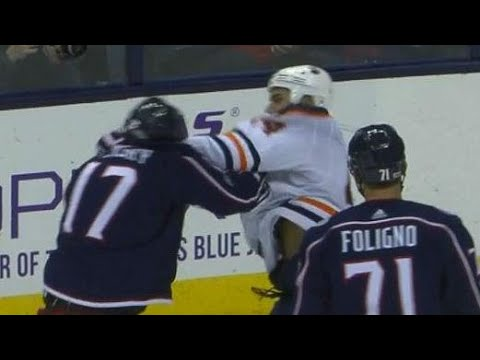 Video: Blue Jackets' Dubinsky slow to leave the ice after punch from Oilers' Kassian
