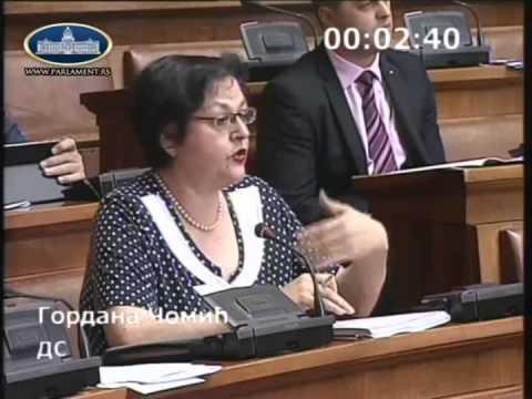 Гордана Чомић - питање министрима рада и финансија