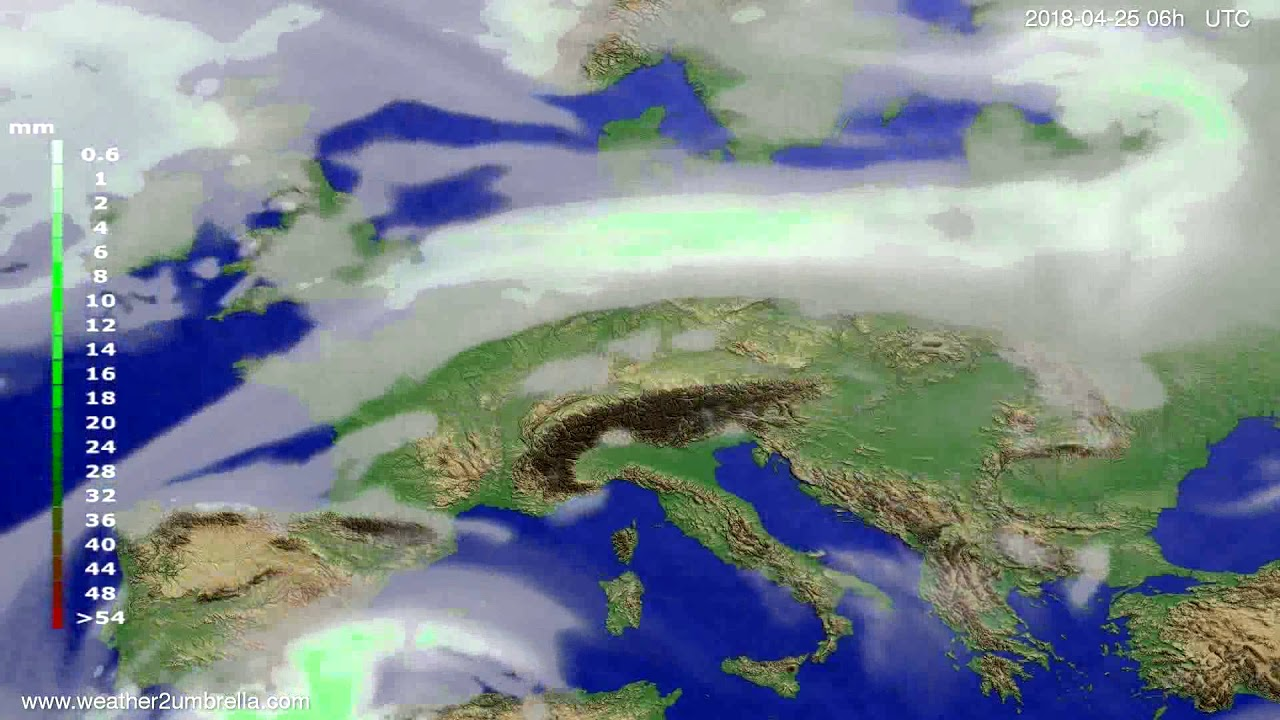 Precipitation forecast Europe 2018-04-22