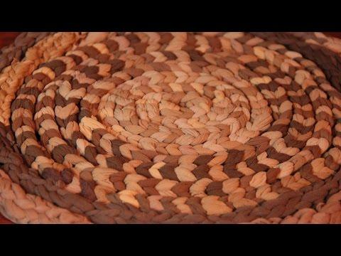 Вязание ковриков из колготок на пальцах