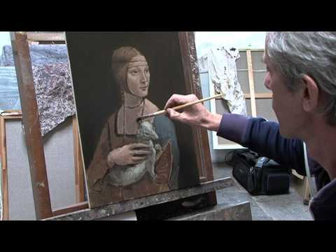 Painting a copy of Lady with an Ermine