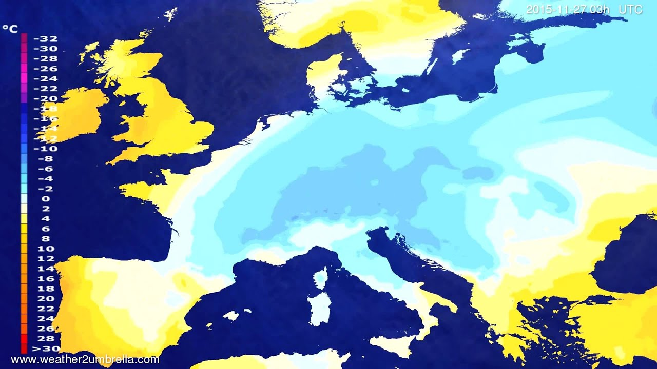 Temperature forecast Europe 2015-11-24