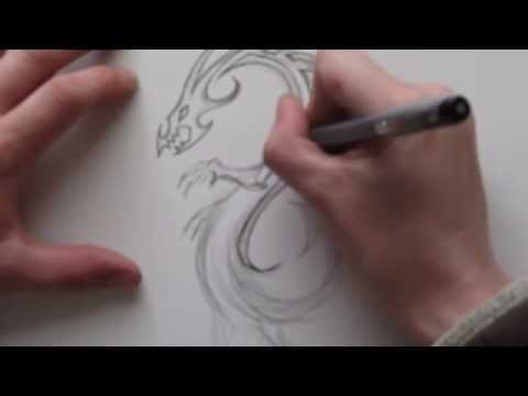 Tribal Dragon Tattoo Design – Standing on Hind Legs in an Infinity Shape Video