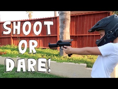 SHOOT OR DARE PAINTBALL GUN CHALLENGE!