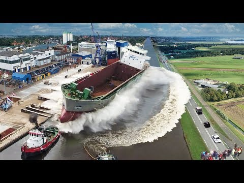 Ship Launch   10 Awesome Waves, FAILS and CLOSE CALLS