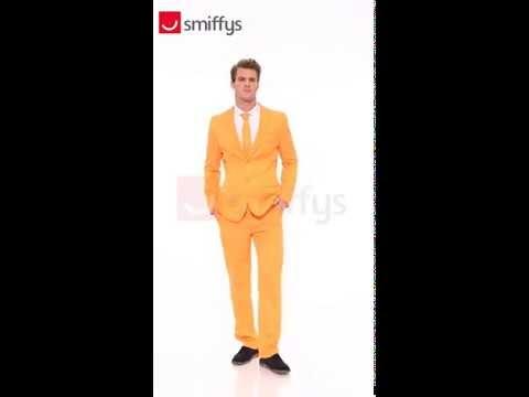 Déguisement costume 3 pièce orange uni