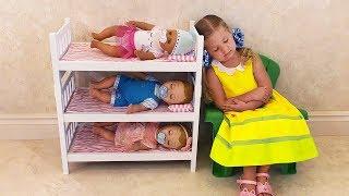 Диана как МАМА и Куклы пупсики Беби Бон Diana pretend play with toys Are you sleeping brother John