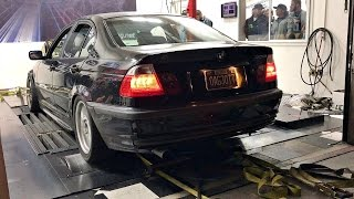 This BMW 325i does a few pulls on the dyno. A very unassuming car that was estimated foolishly by me to make about 300whp. Well the car made ALOT more than that. The car has the turbo Inline 6 engine that most older BMWs had. Filmed at the Black Market Racing dyno event as part of the Street Car Takeover in Phoenix, AZ.