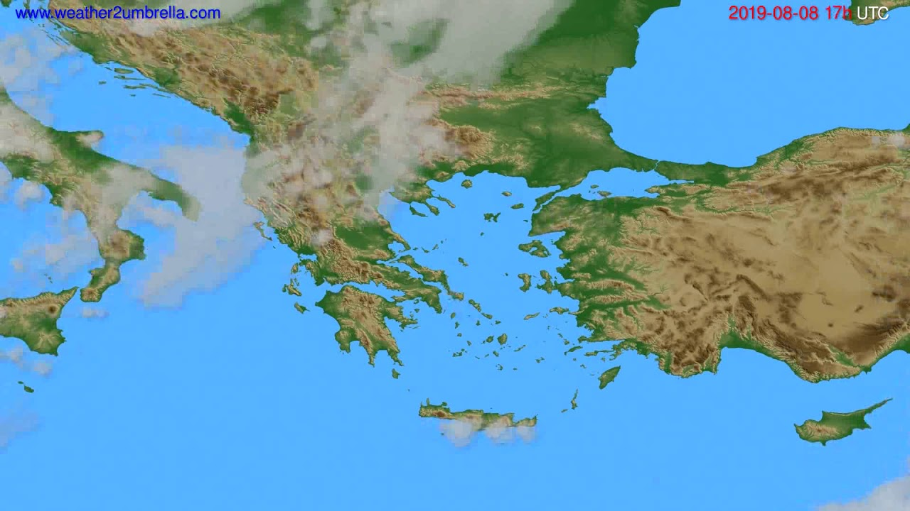 Cloud forecast Greece // modelrun: 12h UTC 2019-08-06