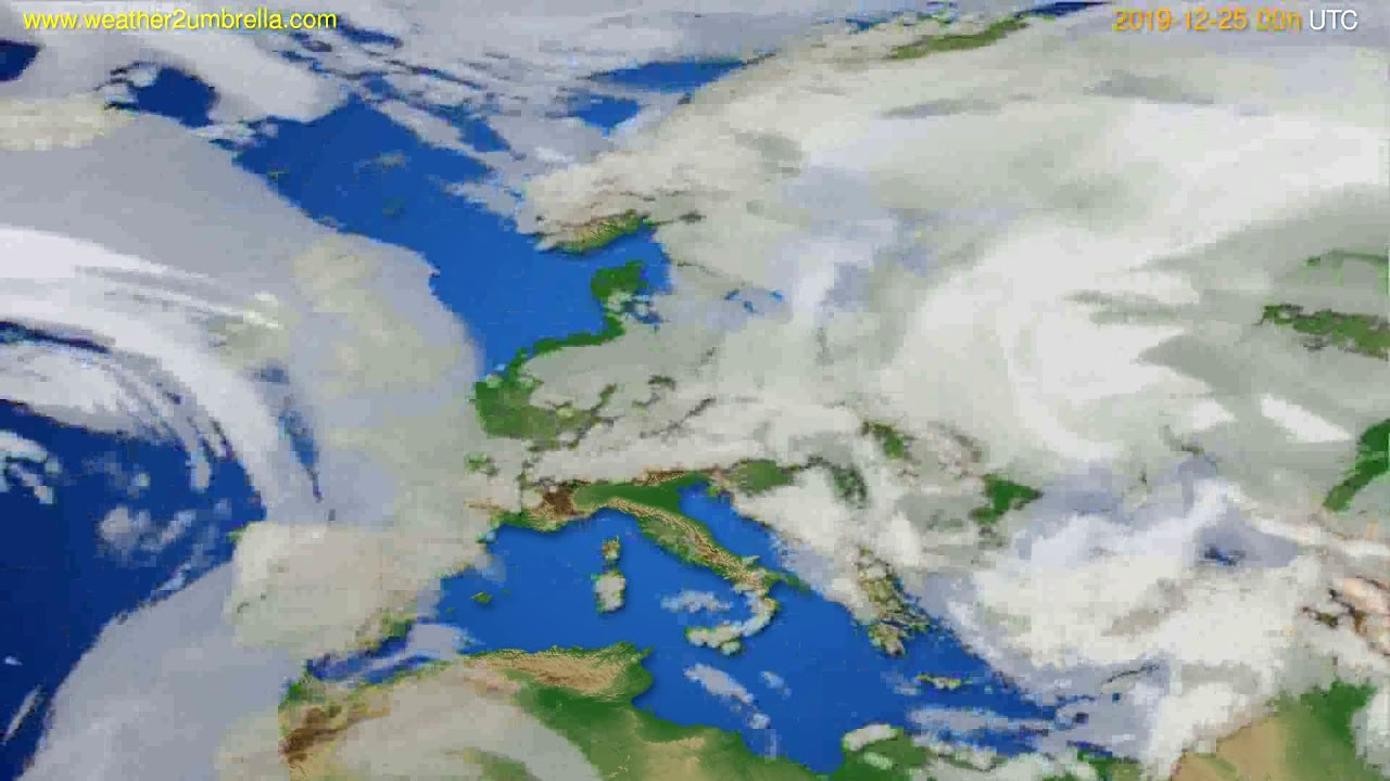 Cloud forecast Europe // modelrun: 00h UTC 2019-12-25