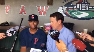 Red Sox top prospect Rafael Devers speaks with media prior to Triple-A home debut with Pawtucket Monday.