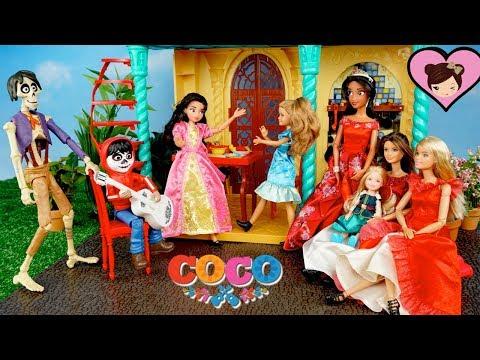 Disney Coco Miguel Surprises Barbie & Princess Elena in The Avalor Castle.