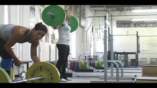 Daily Training 9-9-12 - Weightlifting training footage of Catalyst weightlifters. Chyna clean + front squat + jerk, Alyssa snatch balance, Aimee block power clean + front squat, Chyna SLDL, Steve back squat.