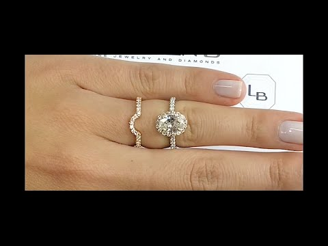 1.20 ct Oval Diamond Halo Ring + Matching Curved Band
