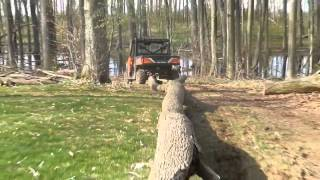 3. 2013 Polaris ranger xp 900 towing large tree