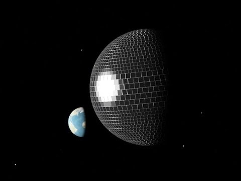 vsauce - DISCO BALL MOON INFORMATION: The large mirror-tiles are 150km squared, and the small ones are 100km squared. They are all 10 km thick with glass (with an IOR...