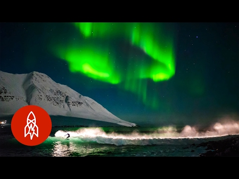 Surfing Under Northern Lights