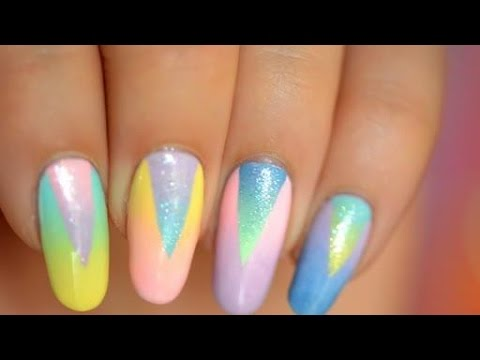 Gradient nail art Don't panic multi shape