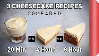 3 Cheesecake Recipes COMPARED (ft. a blindfold) by SORTEDfood