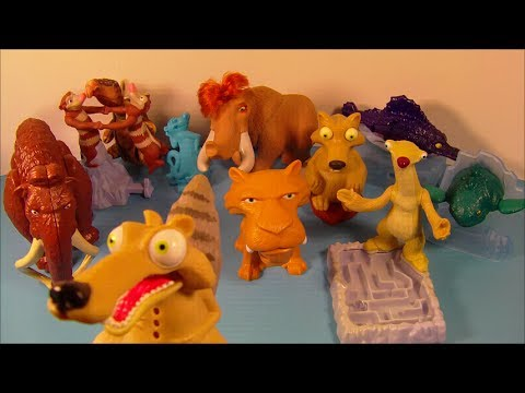 2005 ICE AGE 2 THE MELTDOWN SET OF 10 BURGER KING KID'S MOVIE TOY'S VIDEO REVIEW