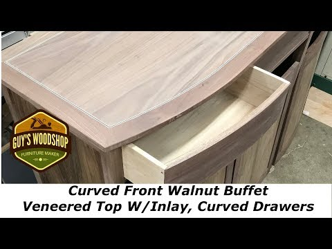Curved Front Walnut Buffet - Veneered Top W/Inlay and Curved Drawers - Pt. 5