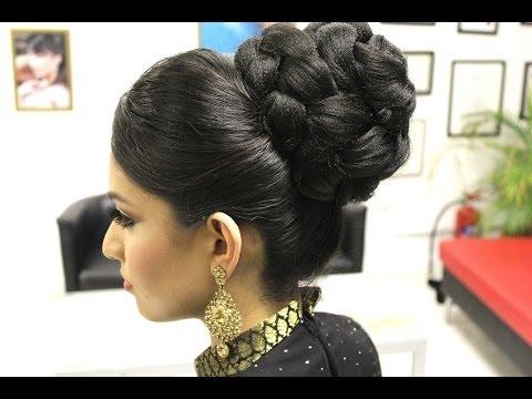 Asian Bridal Hairstyles   Pakistani, Indian Wedding Hair Style   Updo Bun using Doughnut or Donut