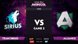 [RU] Team Sirius vs Alliance, Game 2, StarLadder ImbaTV Dota 2 Minor S2 Playoffs