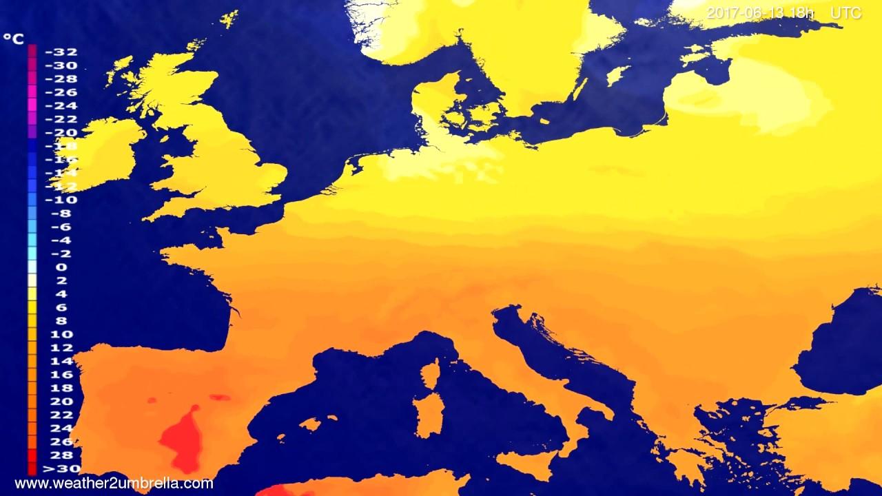 Temperature forecast Europe 2017-06-10