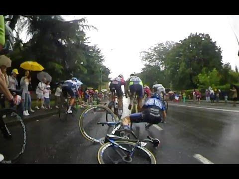 to the stage - It was another wet and sketchy day at the Tour de France with a crash inside the final 3km ruling out Michael Albasini's chance of a result. Rider Cam captured all the carnage of the day....
