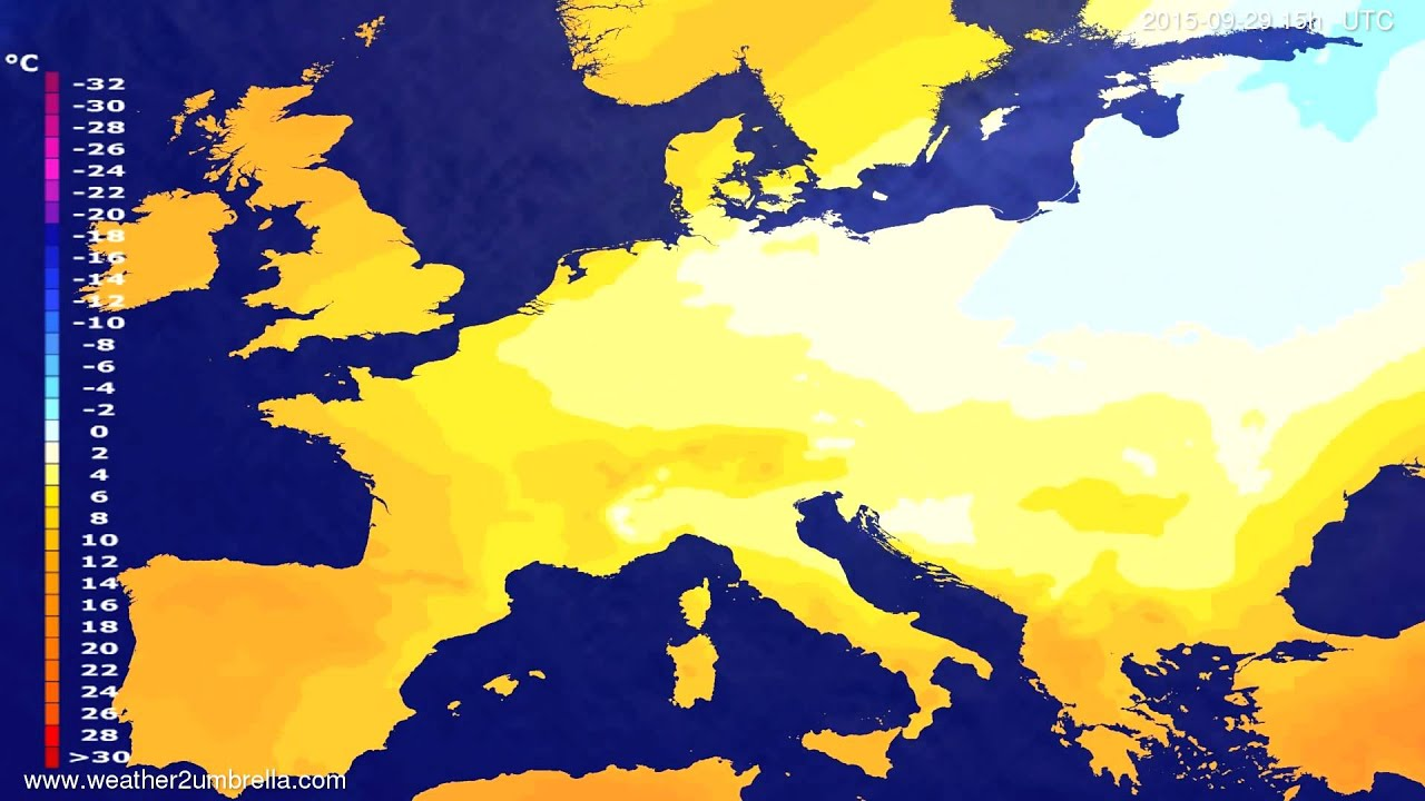 Temperature forecast Europe 2015-09-26