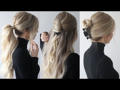 HOW TO: EASY HAIRSTYLES w/claw clips  Claw clip hairstyles