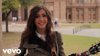 Kate Voegele talks SXSW in front of the Texas Capitol Building in Austin.