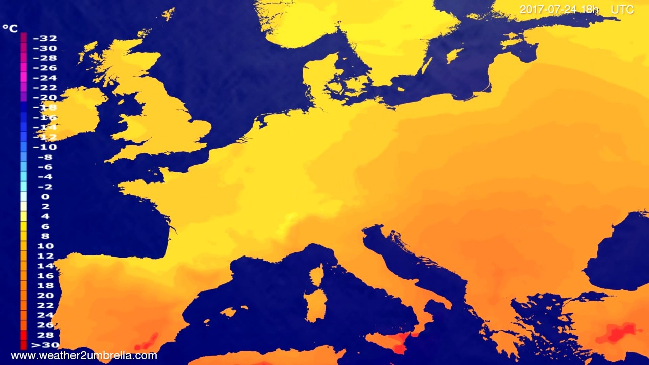 Temperature forecast Europe 2017-07-21