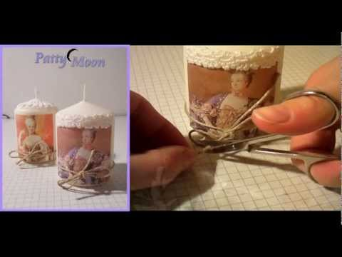 candele decorate in stile shabby chic