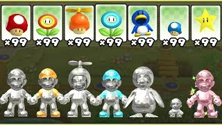 This video shows all of the power-ups in New Super Mario Bros. Wii using a mod to play as Metal Mario, Green Bronze Luigi, Blue Diamond Toads and Pink Gold Peach. The 8 items in this game are: Mushroom, Yoshi, Fire Flower, Propeller Suit, Ice Flower, Penguin Suit, Mini-Mushroom and Star.This mod was created by StupidMarioBros1Fan: https://www.youtube.com/user/StupidMarioBros1Fan►No Commentary Gameplay by ProsafiaGaming (2017)◄