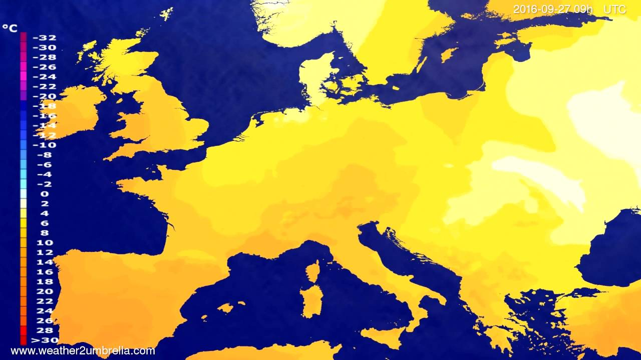 Temperature forecast Europe 2016-09-25