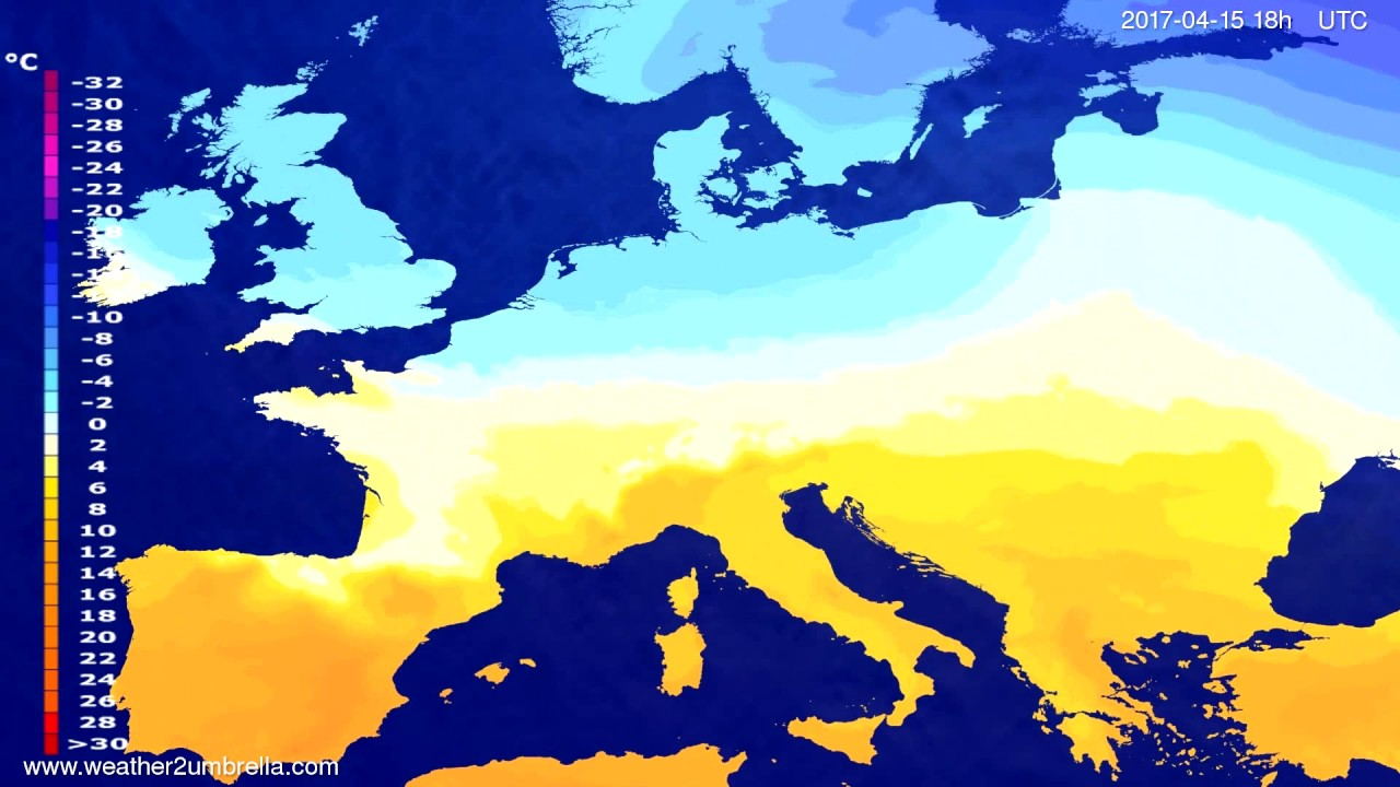 Temperature forecast Europe 2017-04-12