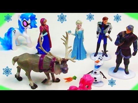 Disney Frozen Princess Anna Queen Elsa Hans Kristoff Olaf Movie Doll Store Toy Review MLP DJ Pon 3