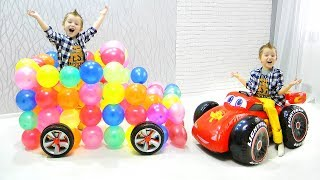 Amazing HUGE Toy Car from Colored Balloons and Max Ride On SPORT Car