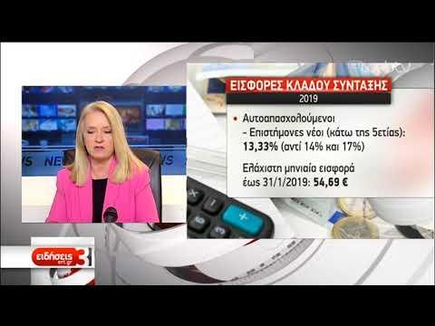 Ανάσα για 250.000 μη μισθωτούς από τις μειώσεις στις εισφορές της κύριας σύνταξης | 20/2/2019 | ΕΡΤ