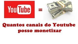 Veja quantos canais do Youtube você pode monetizar sem ser punido pelo Google.Link ajuda:https://support.google.com/youtube/troubleshooter/7367438?visit_id=0-636314148673031579-3691887340&hl=pt-BR&rd=1#ts=7367346%2C7367440%2C7367258Link login monetização : https://www.youtube.com/account_monetization