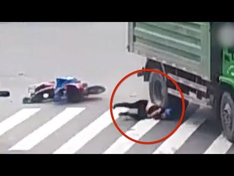 Helmet saves man's life as truck runs over his head