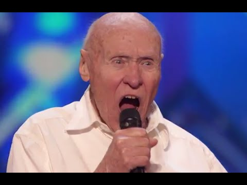 "82 Year old man covers DROWNING POOL's ""BODIES"" at Americans Got Talent."